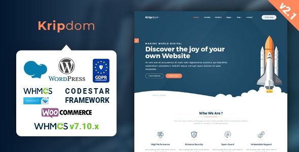 Kripdom - Responsive Web Hosting and WHMCS Themes - Hosting Technology