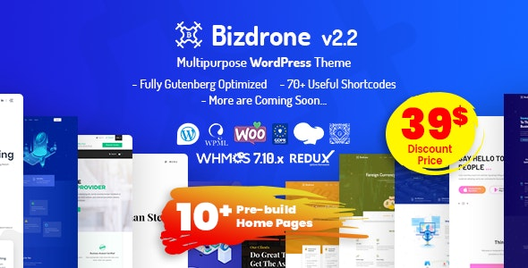 Bizdrone | ICO Crypto Landing & Cryptocurrency WordPress Theme​ with whmcs Template - Technology WordPress
