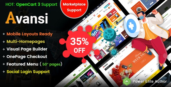 Avansi - Top Multi-purpose MarketPlace OpenCart 3 Theme (Mobile Layouts Included) - OpenCart eCommerce