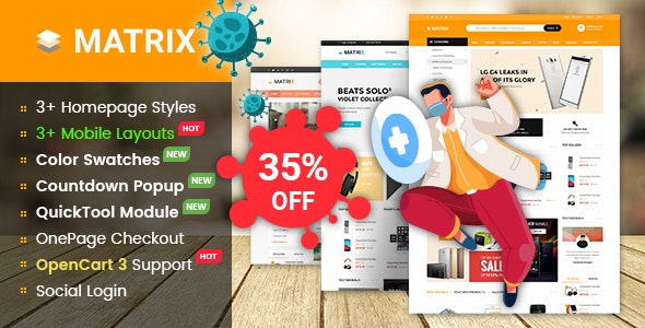 Matrix - Multipurpose eCommerce Marketplace OpenCart 3 Theme With Mobile-Specific Layouts - OpenCart eCommerce