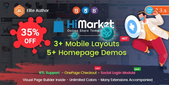 HiMarket - Drag & Drop OpenCart 2.3 & 3.x Theme With Mobile-Specific Layouts - OpenCart eCommerce