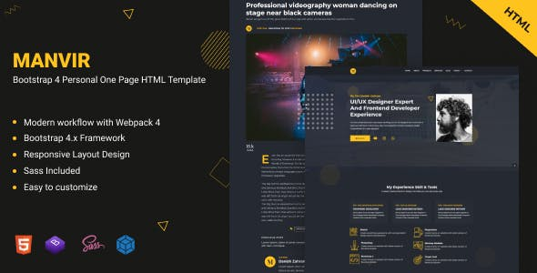 Download Manvir - Bootstrap 4 Personal One Page HTML Template