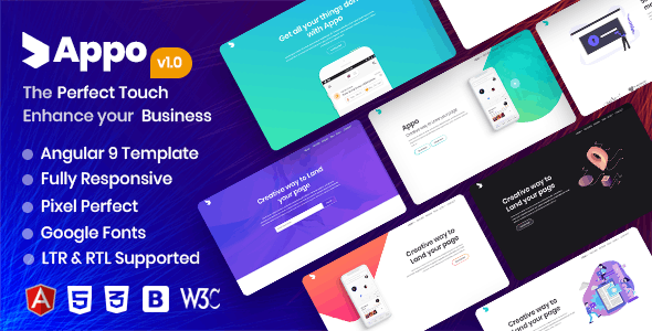 appo | Angular 9 App Landing Page - Software Technology