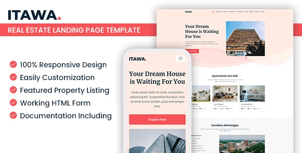 Itawa — Real Estate Landing Page Template - Marketing Corporate