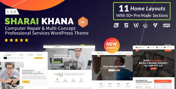 Sharai Khana - Computer Repair & Multi-Concept Professional Services WordPress Theme - Technology WordPress