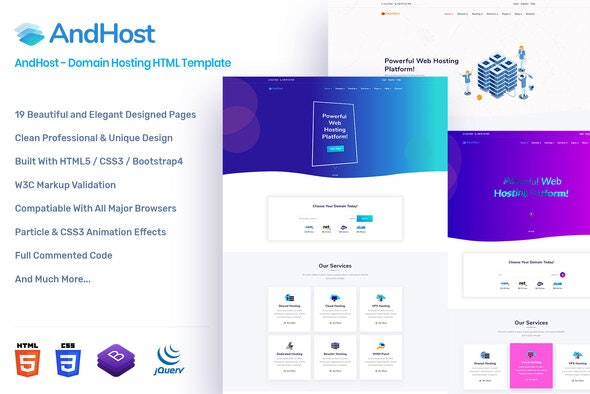AndHost - Domain Hosting HTML Template - Hosting Technology