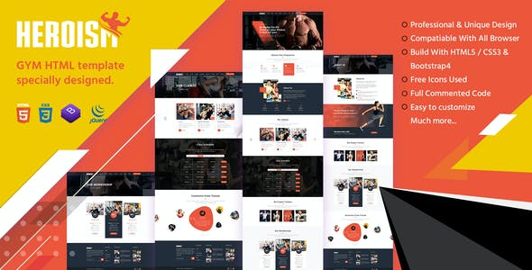 Heroism - Gym and Fitness HTML5 Responsive Template