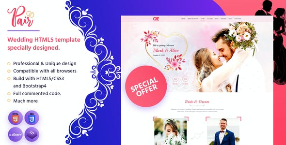Download Pair - Wedding HTML5 Template