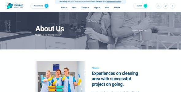 Clinixer - Cleaning Services PSD Template