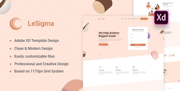 LeSigma - Isometric Business Adobe XD Landing Page Template - Marketing Corporate