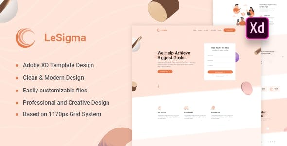 LeSigma - Isometric Business Adobe XD Landing Page Template