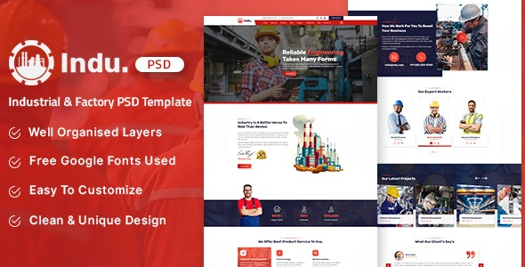 Indu-Industrial & Factory PSD Template - Business Corporate
