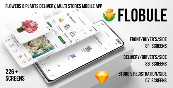 Flobule Flowers Plants Delivery Multi Stores Ui Kit For Mobile App By Meconata