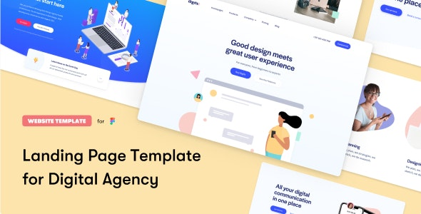 Digits Landing Page Template - Marketing Corporate