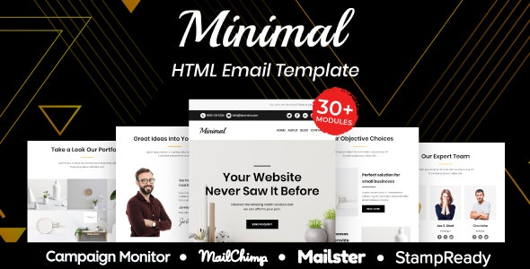 Minimal - Multipurpose Responsive Email Template 30+ Modules Mailchimp - Newsletters Email Templates