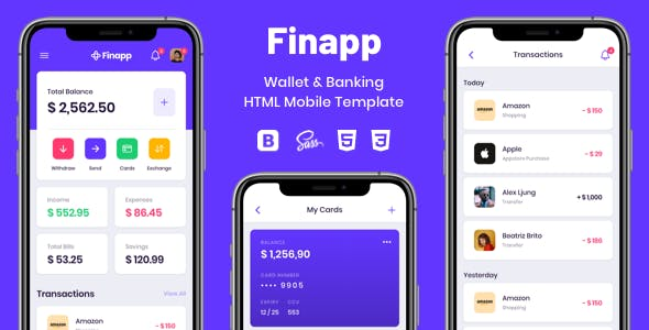 Download Finapp - Wallet & Banking HTML Mobile Template