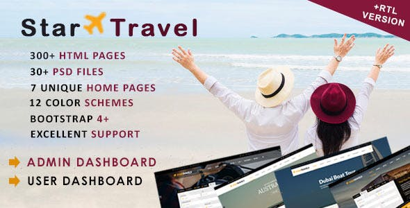 Star Travel - Travel, Tour, Hotel Booking & Admin Dashboard HTML5 Template