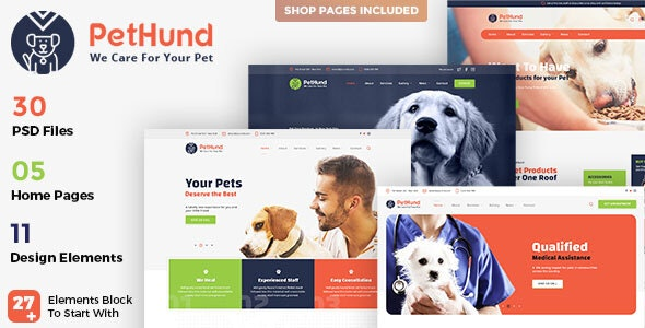 PetHund - Pet Shop and Veterinary PSD Template - Business Corporate