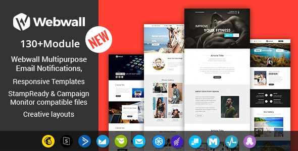Webwall- 130+ Modules Newsletter Template + StampReady & CampaignMonitor compatible files - Newsletters Email Templates