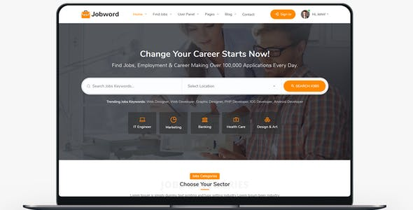 Jobword - Job Portal HTML Template (Employment, Naukri, Shine, Indeed, Job Posting, Job Provider)