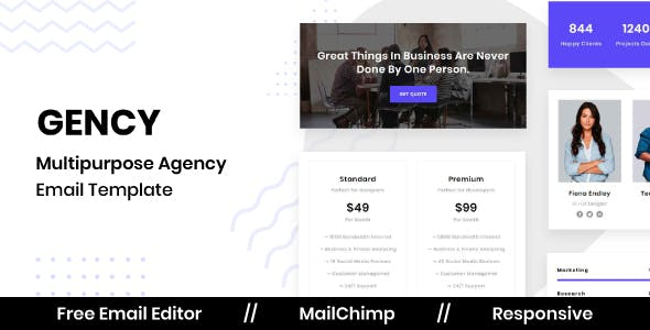 Gency - Agency Email Template With Free Email Editor