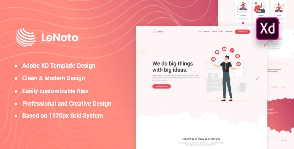 LeNoto - Isometric Business Adobe XD Landing Page Template - Marketing Corporate
