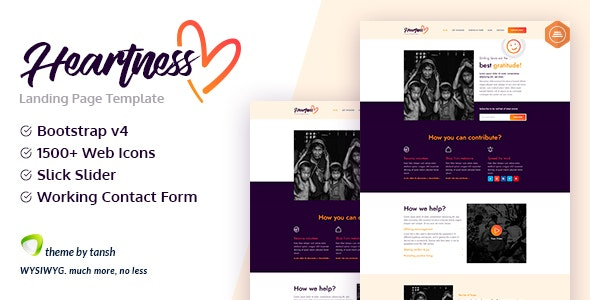 Heartness - Fundraising / Donation Landing Page - Charity Nonprofit