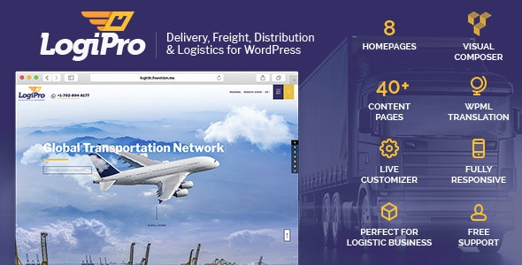 LogiPro - Delivery, Freight, Distribution & Logistics for WordPress - Business Corporate