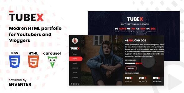 Tubex - Html Portfolio For Vlogger and Youtuber - Portfolio Creative