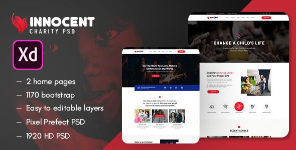Innocent - Nonprofits Charity XD Template