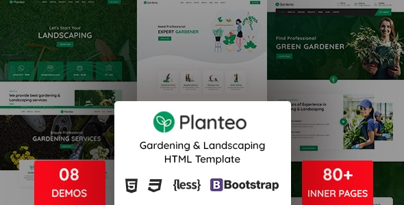 Planteo - Gardening and Landscaping HTML5 Template - Business Corporate