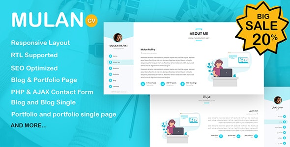 Mulan Resume / CV Template + RTL - Resume / CV Specialty Pages
