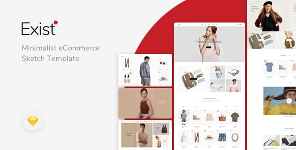 Exist - Minimalist eCommerce Sketch Template - Retail Sketch