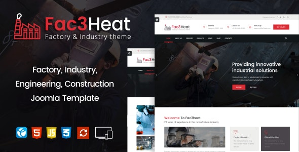 Fac3heat –   Factory, Industry, Engineering Joomla Template - Business Corporate