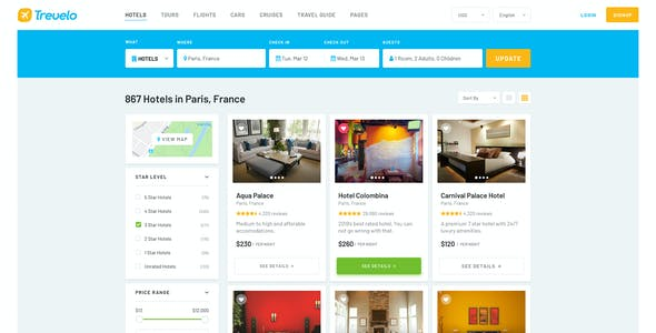 Trevelo – Hotels & Tours Booking PSD Template