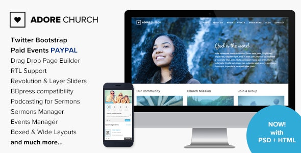 Adore Church - Responsive WordPress Theme - Churches Nonprofit