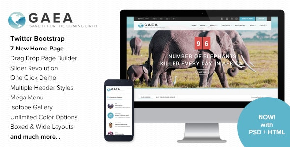 Gaea - Environmental WordPress Theme - Environmental Nonprofit