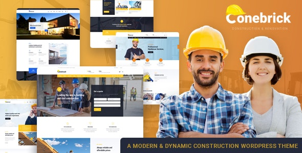Conebrick - Building Construction Factory WordPress Theme - Business Corporate