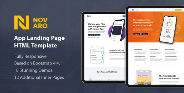 Novaro - App Landing Page HTML Template - Landing Pages Marketing