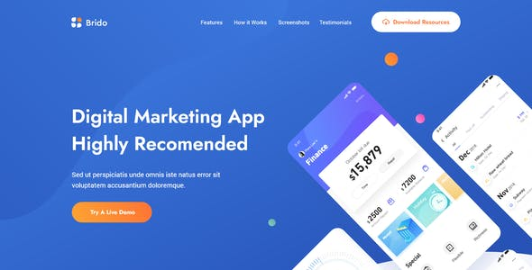 Brido - App & Saas Landing Page Template