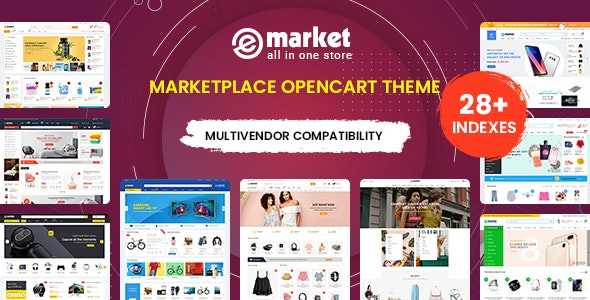 eMarket - Multi-purpose MarketPlace OpenCart 3 Theme (28+ Homepages & Mobile Layouts Included) - OpenCart eCommerce