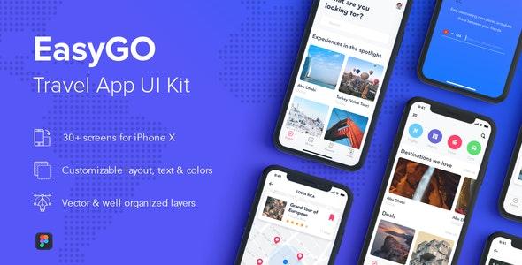 EasyGo - Travel App UI Kit for Figma - Figma UI Templates
