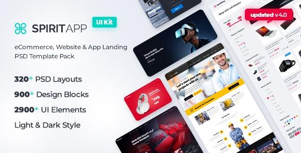 SpiritApp - eCommerce, Website & App Landing Page PSD Template Pack - Marketing Corporate