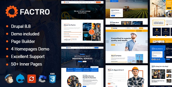 Factro - Industrial & Factory Business Drupal 8.8 Theme - Business Corporate