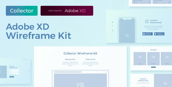 Collector – Web Wireframe UI Kit for AdobeXD - Adobe XD UI Templates