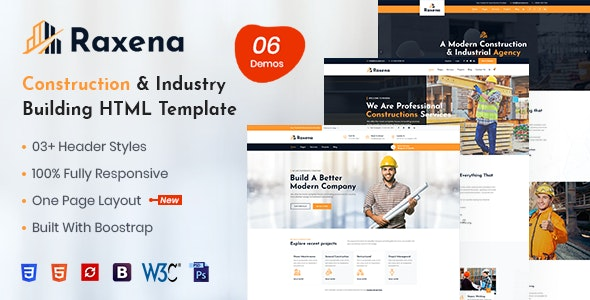 Raxena – Construction HTML Template - Business Corporate