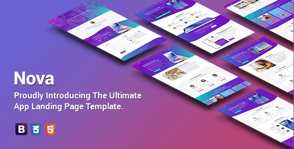 Nova - Premium App Landing Page Template - Apps Technology