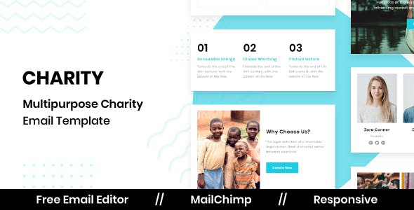 CHARITY - Responsive Email Template for Nonprofit With Free Email Editor