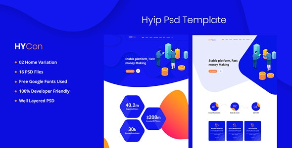 Hycon - HYIP Investment PSD Template - Photoshop UI Templates