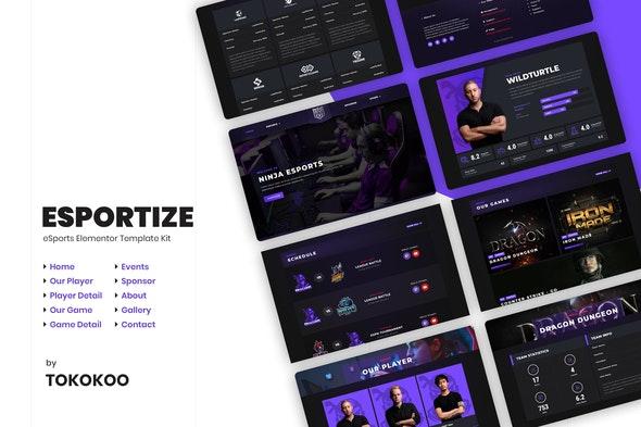 Esportize | eSports Elementor Template Kit - Sport & Fitness Elementor